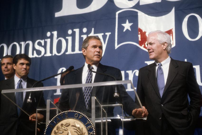 George W Bush (c) Senator John Cornyn (r) and Rick Perry (l) on Texas election night victory November 3rd, 1998 Austin, Texas