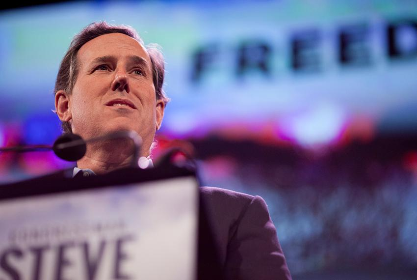 Former Sen. Rick Santorum speaks at the Iowa Freedom Summit at the Hoyt Sherman Place theater in Des Moines, Iowa, on Jan....