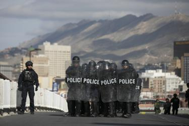 """CBP participates in """"operational readiness exercises"""" to prepare for the caravan moving through Mexico and heading towards the border, according to a CBP agent, at the Paso del Norte Port of Entry on Friday, November 9, 2018, in El Paso, Texas."""