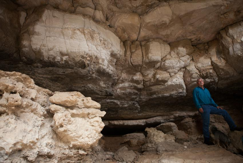 Douglas Meyer, the Devils River project manager for the Nature Conservancy's Dolan Falls Preserve, stands in a large cave at…