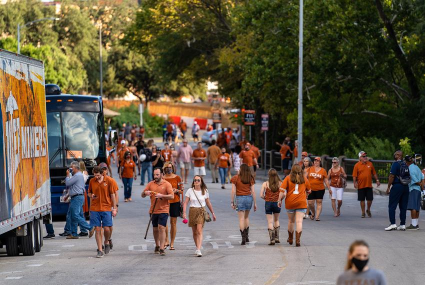 Fans begin to arrive at the stadium before kickoff for the first home football game of the season at the University of Tex...