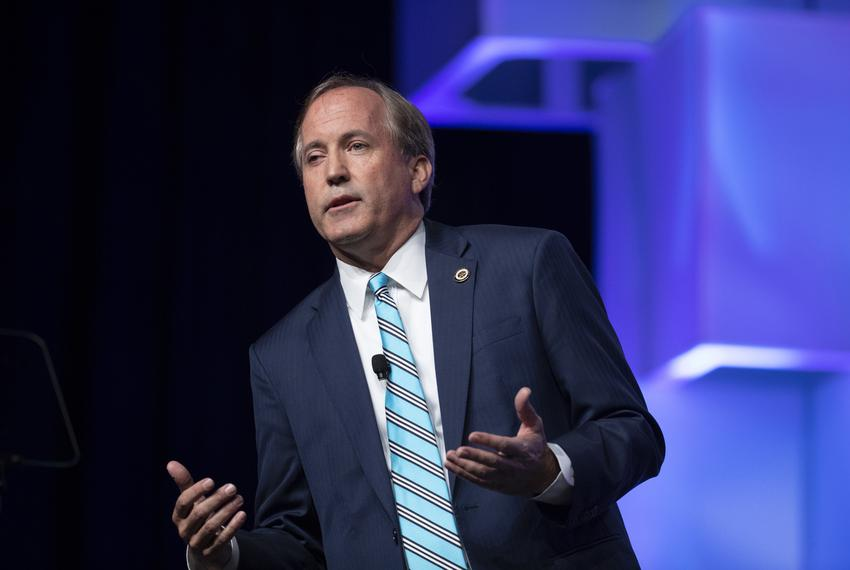 Texas Attorney General Ken Paxton speaks to delegates at the Texas Republican Convention in San Antonio on June 15, 2018.