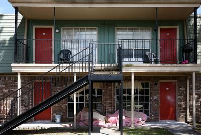 Repairs continue at the Arthur Square apartments in Port Arthur, months after Hurricane Harvey's rains caused the first floor units to flood.