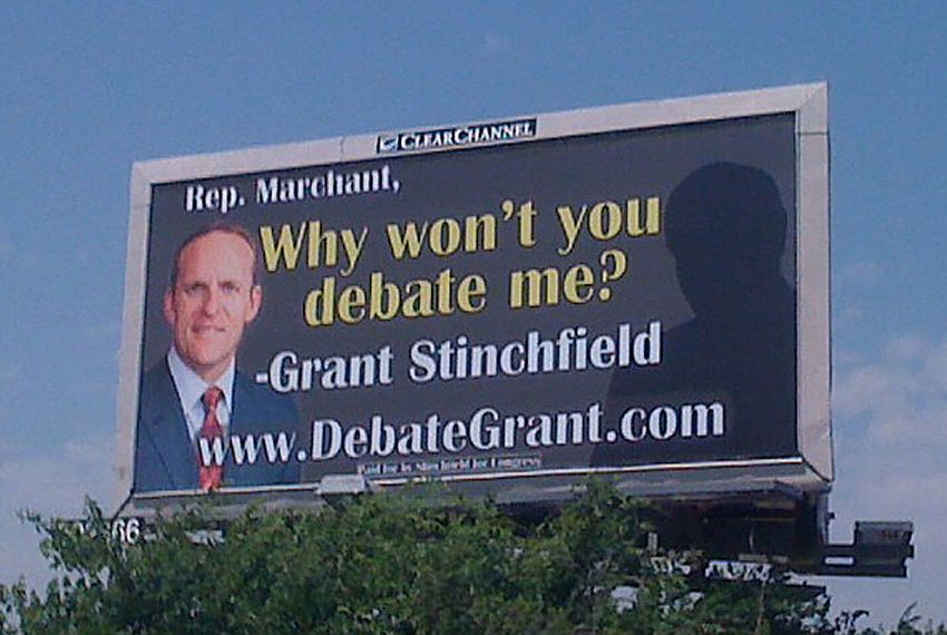 Stinchfield placed this billboard ad within 2 miles of Rep. Kenny Marchant's home.