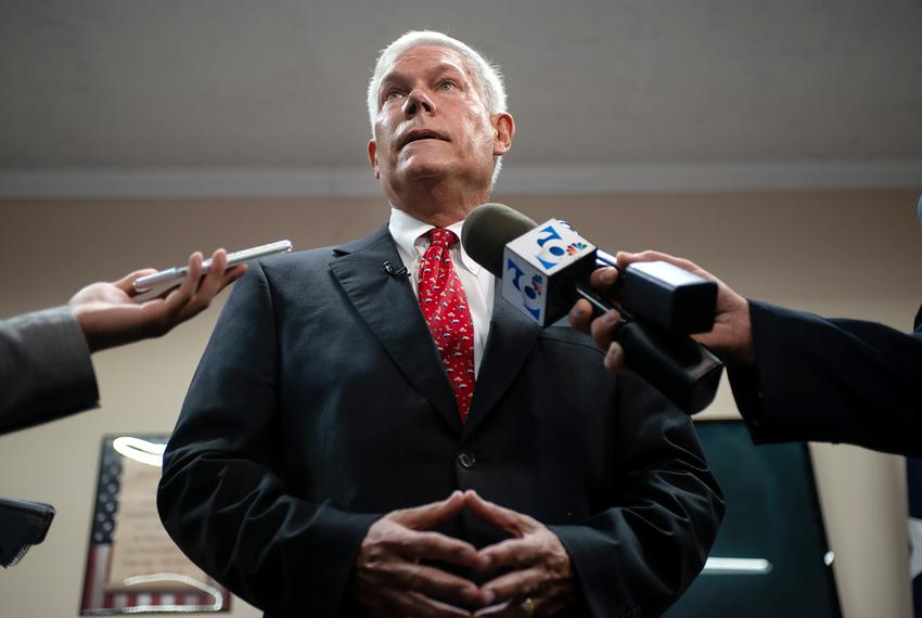 Former U.S. Rep. Pete Sessions is interviewed by press after announcing his candidacy for the 17th District at McLennan Coun…