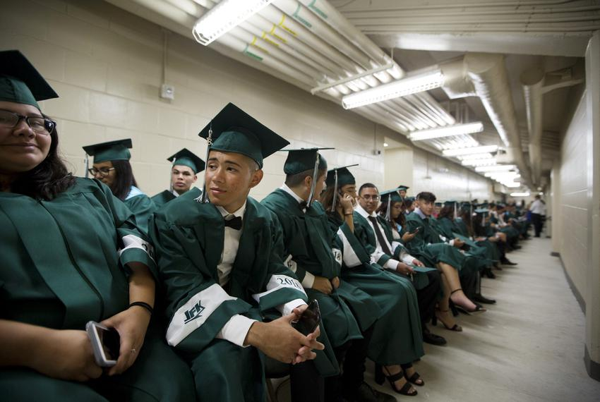 A high school graduation ceremony in Texas in 2018.