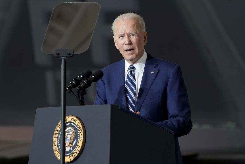 President Joe Biden speaks at Joint Base Langley-Eustis in Hampton, Virginia on May 28, 2021.