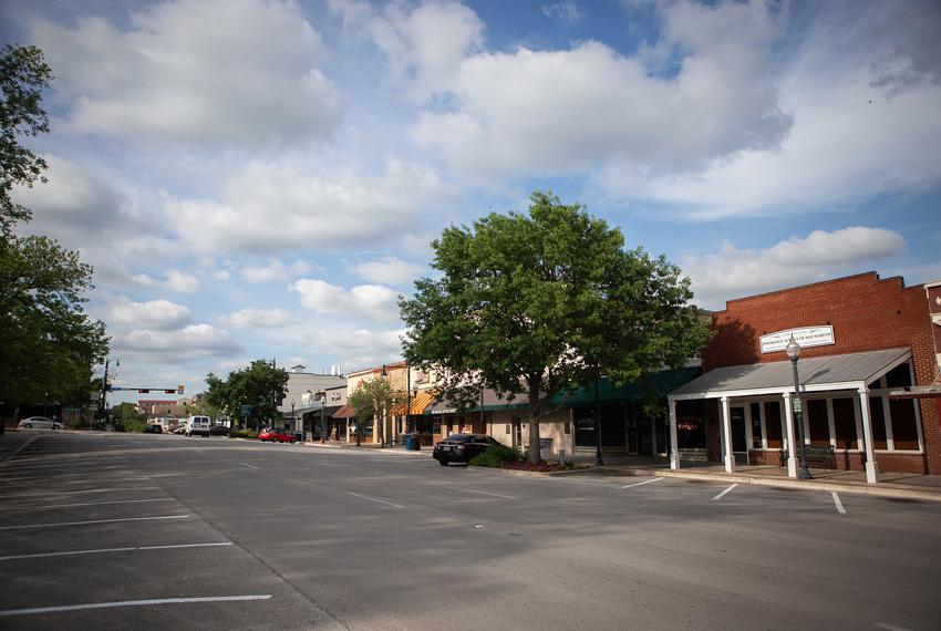A quiet downtown San Marcos during the coronavirus pandemic on April 10, 2020.