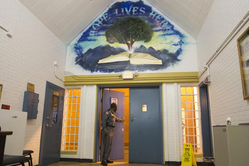 A chapel inside the Darrington Unit, where inmates can participate in the Southwestern Baptist Theological Seminary progra...