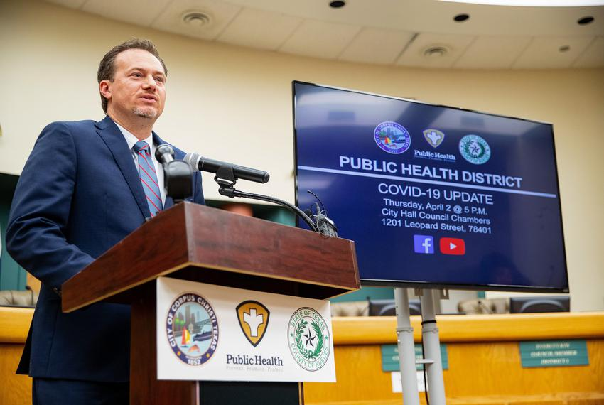 U.S. Rep. Michael Cloud, R-Victoria, speaks during the daily Public Health District COVID-19 Update at Corpus Christi City H…