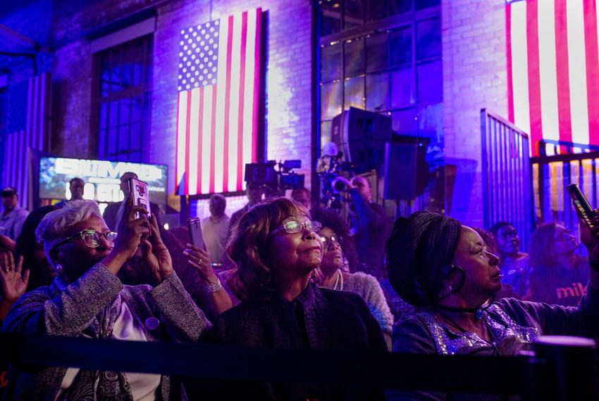Supporters of democratic presidential candidate Mike Bloomberg gather for a campaign event at the Buffalo Soldier Museum in Houston on Thursday, Feb. 13, 2020.