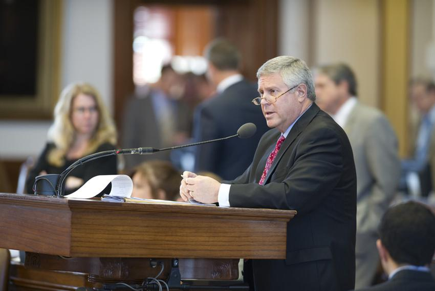 """State Rep. Burt Solomons, R-Carrollton, lays out HB12 on """"sanctuary cities"""" in the House on May 6, 2011."""
