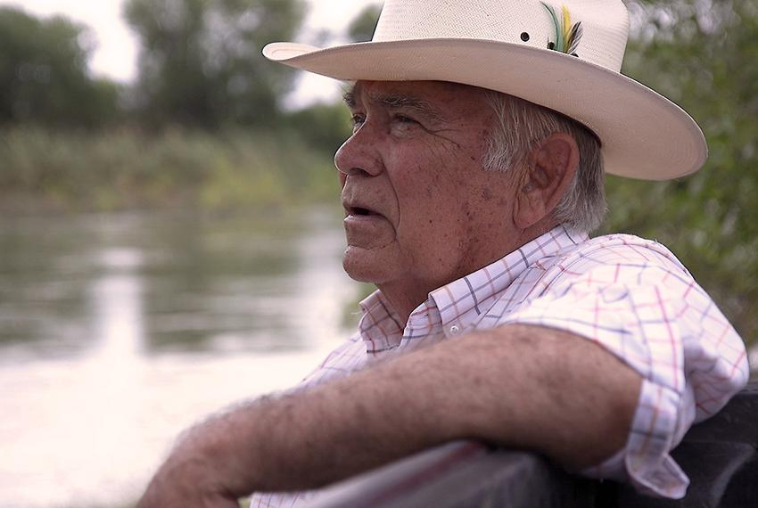 Ruperto Escobar on his South Texas ranch along the Rio Grande, the international boundary between the United States and Me...