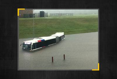 A Houston Metro bus is underwater at George Bush Intercontinental Airport in Houston.