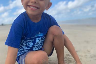 Nikhil Shah, de 5 años, llegó a la playa esta semana con su familia.