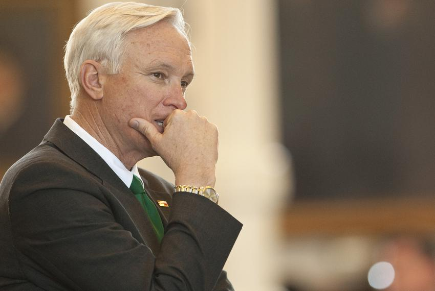Sen. Steve Ogden, R-Bryan, chairman of the Senate Finance Committee, listens to debate after bringing budget bill CSHB1 to...