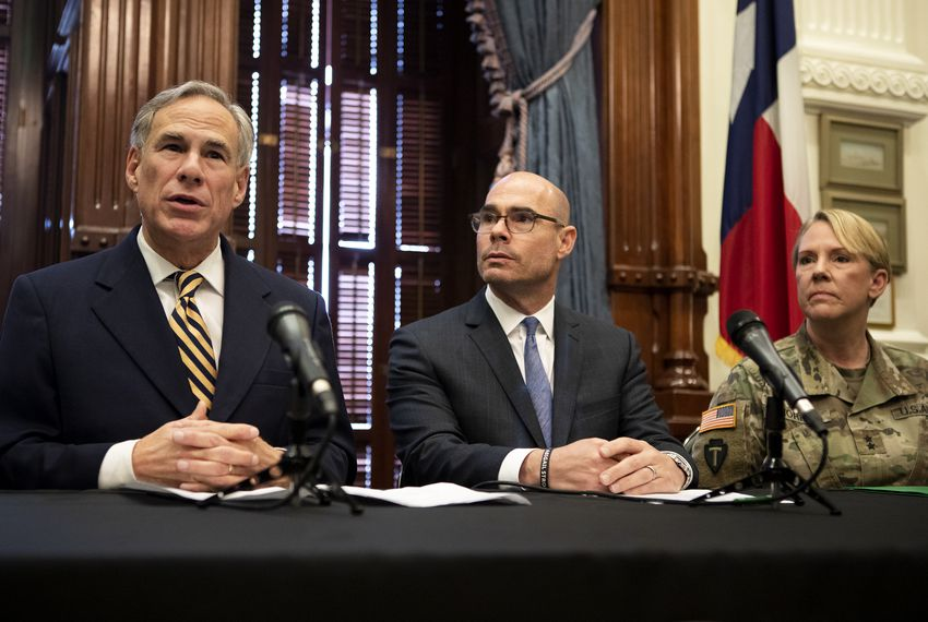 "Troops will ""provide assistance at temporary holding facilities"" in the Rio Grande Valley and El Paso and help at ports of entry, Texas Gov. Greg Abbott (left) said at a press conference with House Speaker Dennis Bonnen, Brig. Gen. Tracy Norris and Lt. Gov. Dan Patrick (not pictured)."