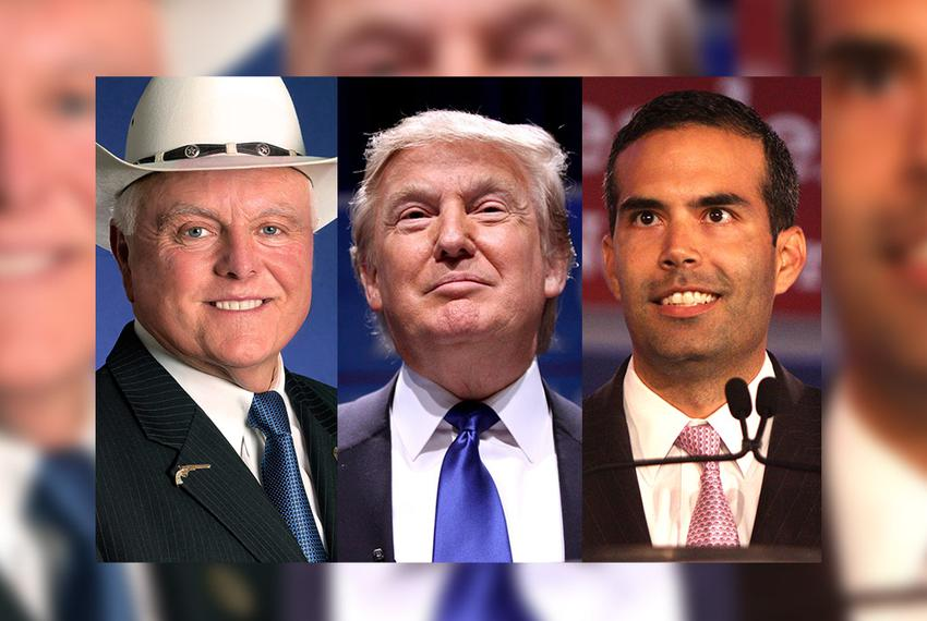 From left: Texas Agriculture Sid Miller, 2016 Republican presidential nominee Donald Trump and Texas Land Commissioner Georg…