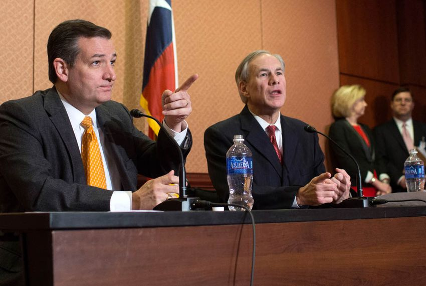 Sen. Ted Cruz (R-Texas) and Gov. Greg Abbott (R-Texas) speak at a press conference in the Capitol about Sen. Cruz's Terrorist Refugee Infiltration Prevention Act of 2015 (S. 2302), in Washington, D.C., Dec. 8, 2015.
