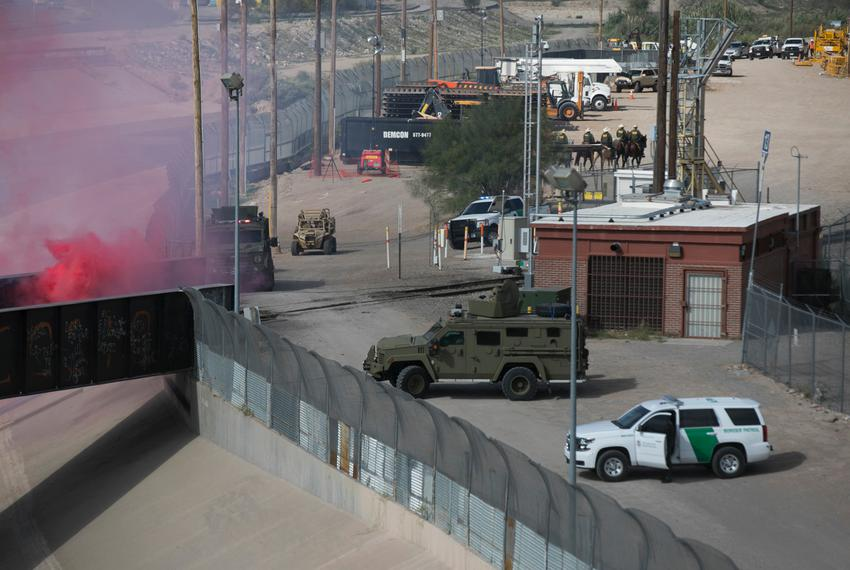"The Border Patrol participates in ""operational readiness exercises"" to prepare for the caravan moving through Mexico and hea…"