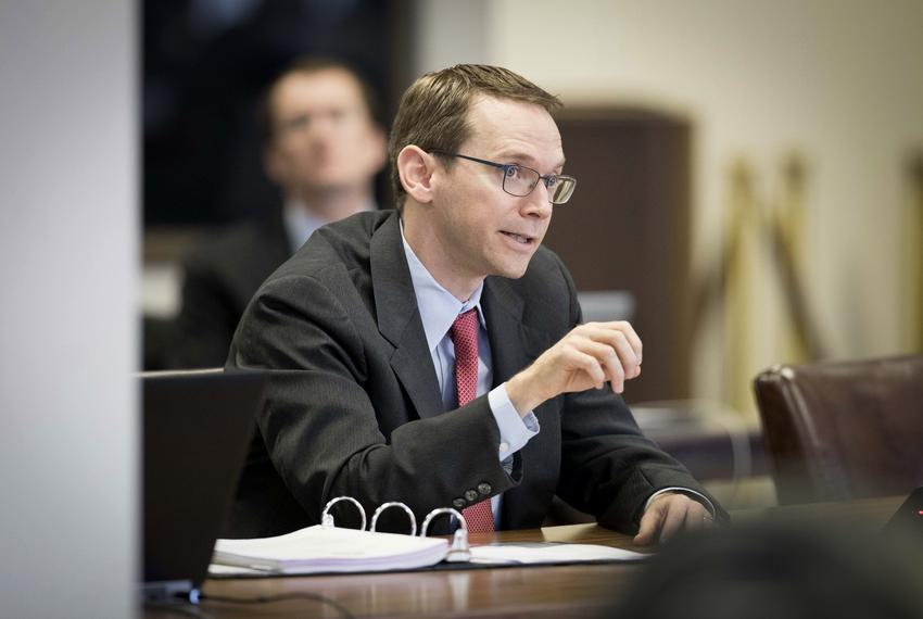Mike Morath speaks during a meeting of the Texas Commission on Public School Finance at the William B. Travis Building in ...