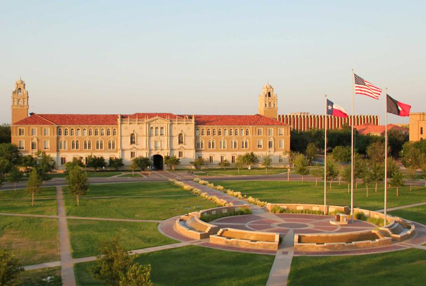Aerial view of the Texas Tech University Provost Office in Lubbock.