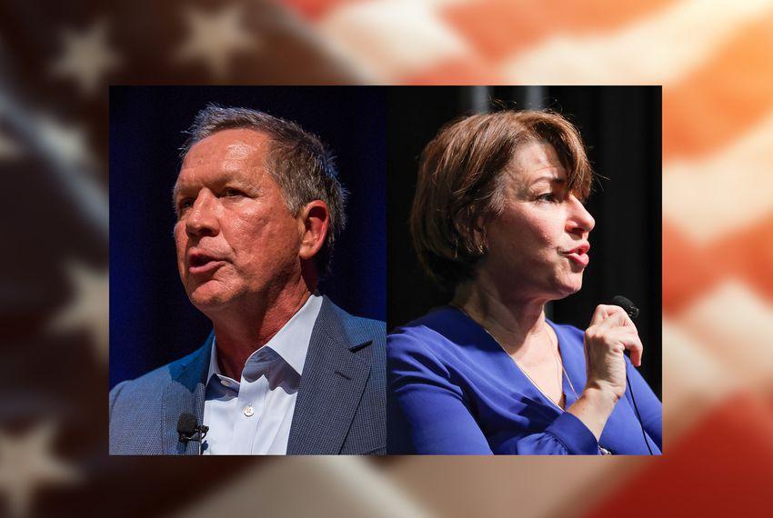 From left: Former Gov. John Kasich, R-Ohio, and U.S. Sen. Amy Klobuchar, D-Minnesota.