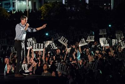 US Rep. Beto O'Rourke speaks to supporters during the Turn Out For Texas Rally with Willie & Beto held at Auditorium Shores in Austin on Sept. 28, 2018.