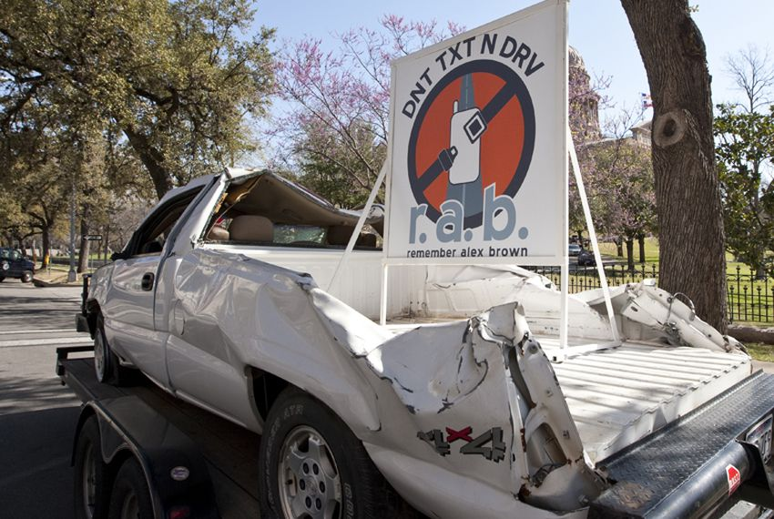 Demonstration car placed by the Brown family to raise awareness on dangers of texting while driving. March 9th, 2011