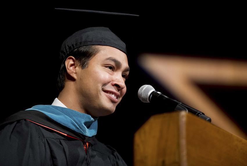 San Antonio Mayor Julian Castro speaks to LBJ School graduates on May 17, 2014.  Castro has been tapped by President Barack …
