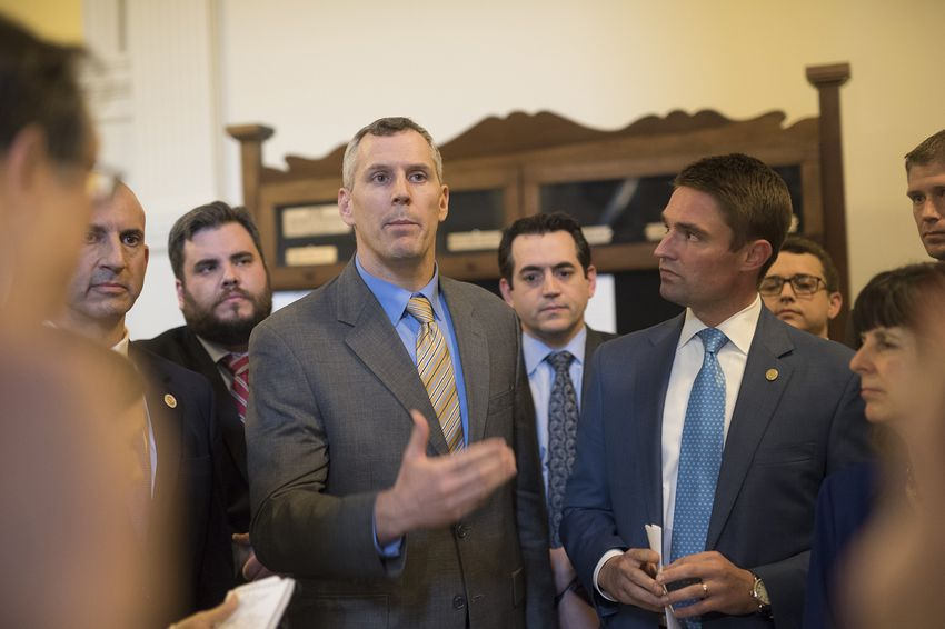 The Texas Freedom Caucus in a hastily called press conference telling the press their intent to kill bills on the Local and Consent calendar in retaliation for what they say is unfair treatment during the House session on May 11, 2017.