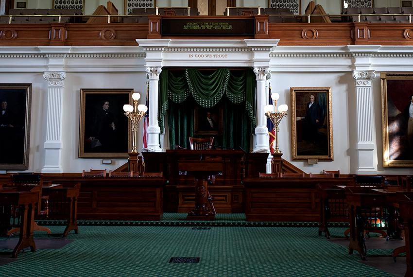 A look at the dais on the Texas Senate floor on Oct. 8, 2015.