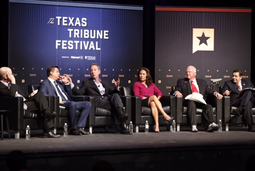 "Tribune reporter Jay Root moderates the ""Trump and Mexico"" panel at The Texas Tribune Festival on Sept. 23, 2017. Left to right: Root; Tamaulipas, Mexico Governor Francisco Cabeza de Vaca; Former U.S. Ambassador to Mexico Antonio Garza; El Paso County Judge Veronica Escobar; Texas Agriculture Commissioner Sid Miller; and U.S. Rep. Henry Cuellar, D-Laredo."