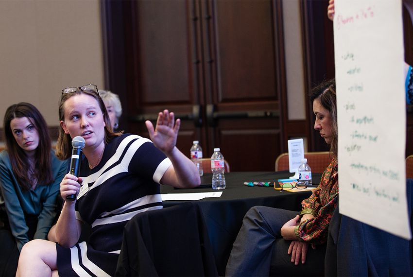 "Attendees of ""At the Table: A Symposium on Texas Women,"" hosted by The Texas Tribune, stayed after the main panels for a roundtable discussion on specific issues facing women they find important."