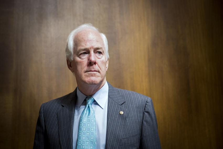 U.S. Senator John Cornyn, R-Texas, enters a hearing room before chairing a U.S. Senate Judiciary Committee hearing to conf...