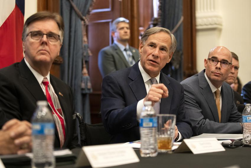 Lt. Gov. Dan Patrick, Gov. Greg Abbott and House Speaker Dennis Bonnen brief reporters during a press conference on a Dome...