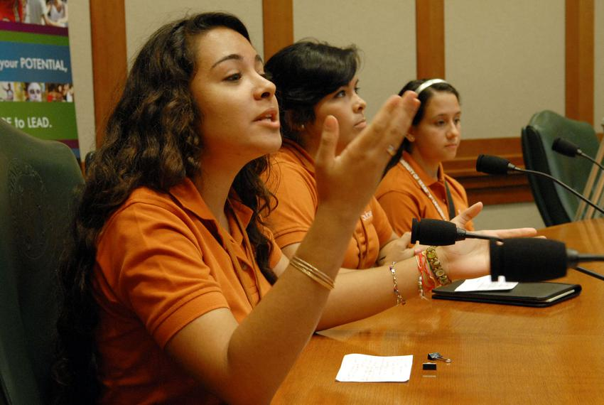 Students at LBJ School's Subiendo: The Academy for Rising Leaders.