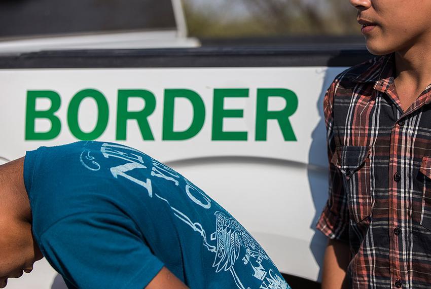 Unaccompanied Honduran migrants turn themselves in to Border Patrol agents near Roma, Texas.