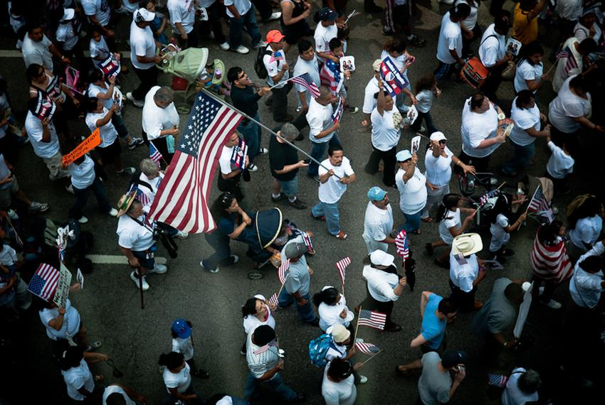 Demonstrators march through the streets of downtown Dallas in 2010 to protest the passage of Arizona's controversial new imm…