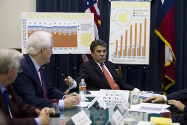 Texas Governor Rick Perry hosts a working session on Medicaid expansion for U.S. Senators John Cornyn, Ted Cruz and other conservative stakeholders at the Texas Capitol on April 1, 2013.