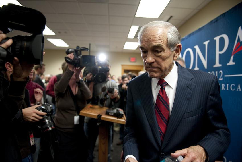 Ron Paul leaving a venue in Sioux Center, Iowa, on Dec. 30, 2011, after delivering a campaign speech.