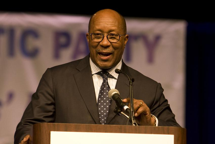U.S. Trade Rep. Ron Kirk speaking at the state Democratic convention on June 8, 2012.