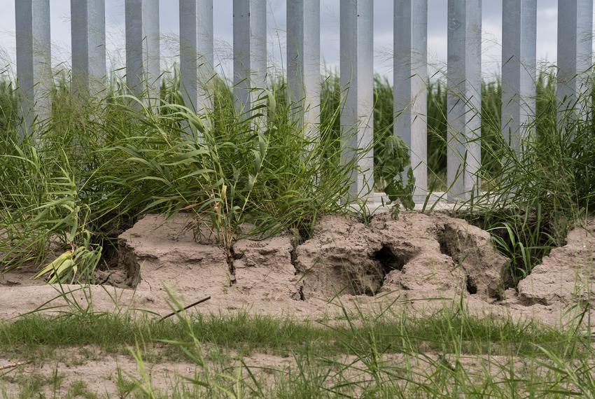 Erosion can be seen along the privately funded border wall that was built less than a year ago in Mission.