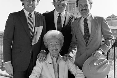 """Portrait of Ann Richards, Garry Mauro, Jim Mattox and Jim Hightower, 1982.  This photo — what Newton refers to as the """"gang of four"""" shot— shows Richards shortly after she was first elected state treasurer along with newly minted Land Commissioner Mauro, Attorney General Mattox and Agriculture Commissioner Hightower.  """"It was an idealistic time,"""" Newton said. """"They were all coming in together."""""""