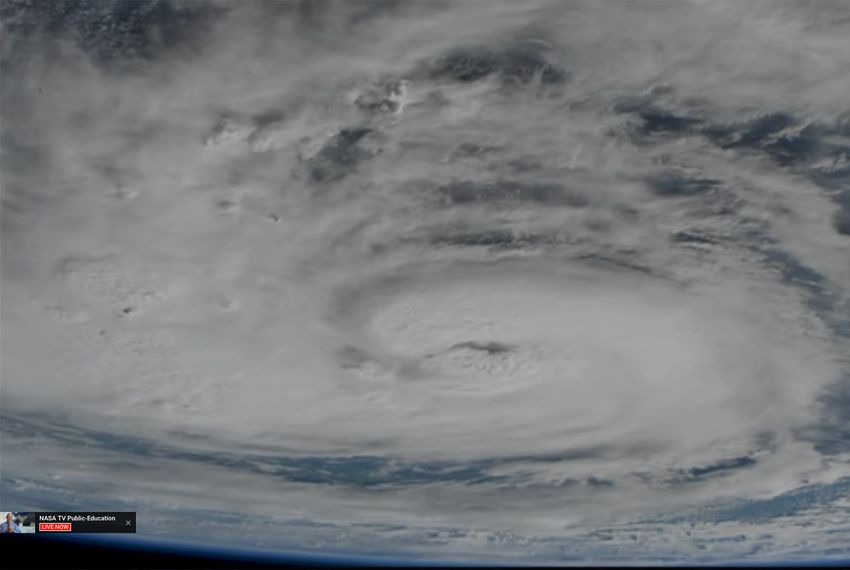 Hurricane Harvey in the Gulf of Mexico as seen from the International Space Station on August 25, 2017.