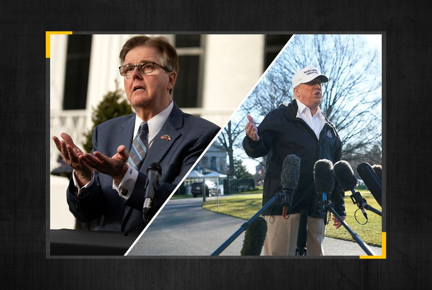 Texas Lt. Gov. Dan Patrick (left) and President Donald Trump.