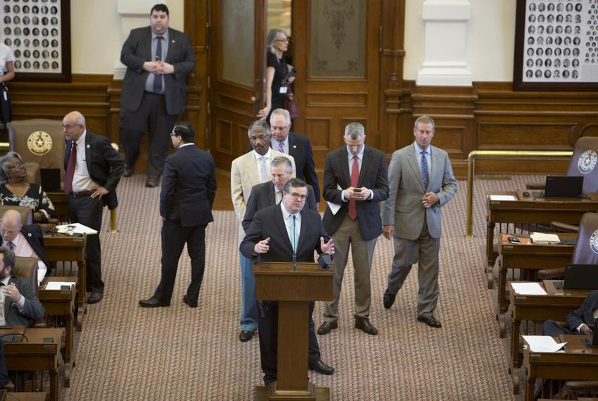 Rep. Larry Phillips R-Sherman at the back microphone of Texas House floor during the 2017 legislative session.