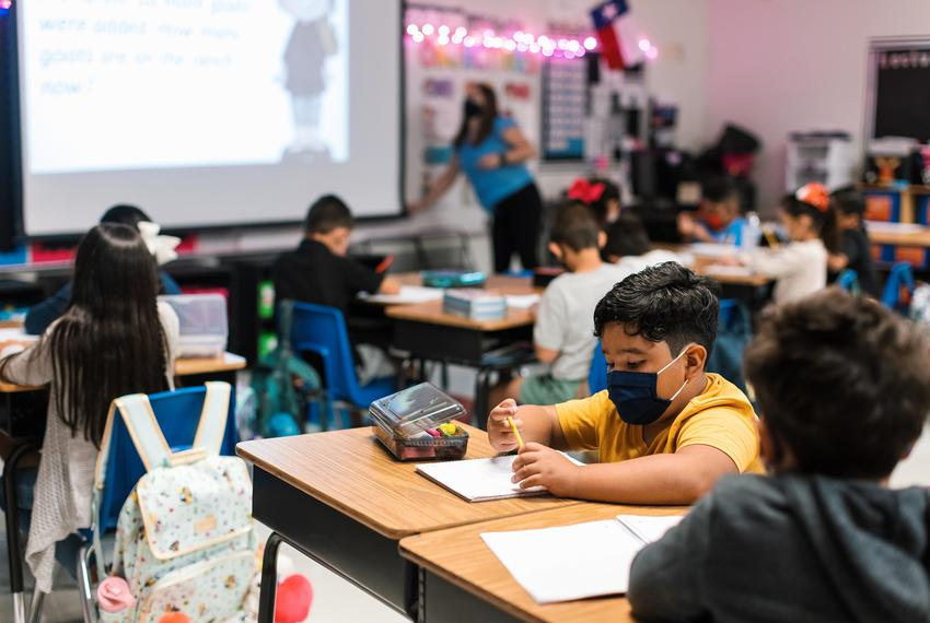 Students work at their desks at Blanco Vista Elementary School in San Marcos on Aug. 23, 2021.