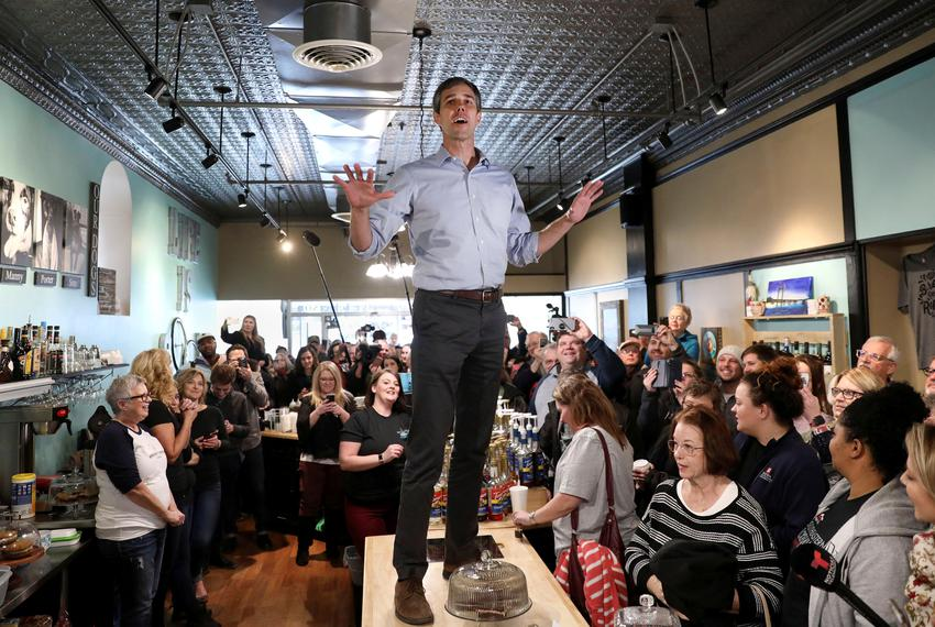 Former Texas congressman Beto O'Rourke speaks during a campaign stop at The Beancounter Coffeehouse & Drinkery in Burlington…