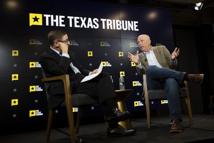 Texas Tribune CEO Evan Smith speaks with U.S. Rep. Chip Roy, R- Texas, in Studio 919 on Sept. 3, 2019.